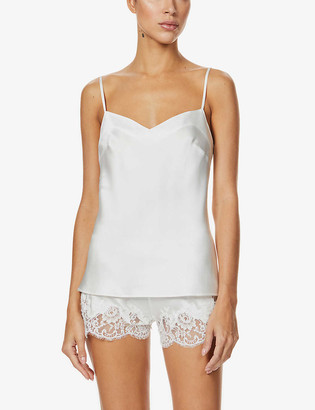 Marjolaine Gemma silk and lace pyjama shorts