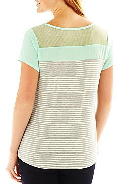 JCPenney Susan Lawrence Sheer-Yoke Short-Sleeve Top