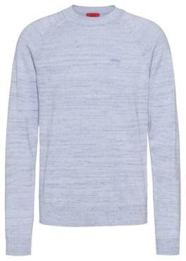 HUGO BOSS Relaxed Fit Sweater In Mouline Linen Blend Yarn - Dark Blue
