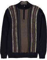 Fusion Mens Quarter Zip Knit Crew Sweater Jumper Pullover Pattern Stripe Warm