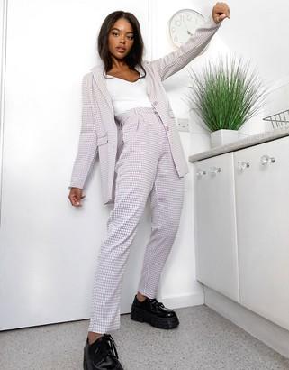 Heartbreak tailored peg leg pants in lilac gingham