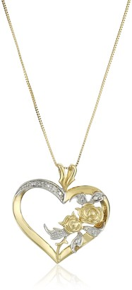 """Amazon Collection 10k Yellow Gold Diamond Accent Heart Pendant Necklace 18"""""""