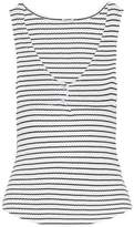 Monrow Button-Detailed Ribbed Striped Cotton-Blend Tank