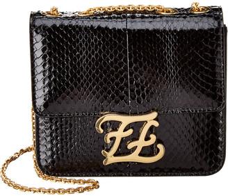 Fendi Karligraphy Snakeskin Shoulder Bag