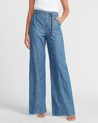Express High Waisted Belted Wide Leg Jeans