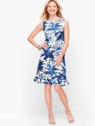 Talbots Sateen Flounce Hem Floral A-Line Dress