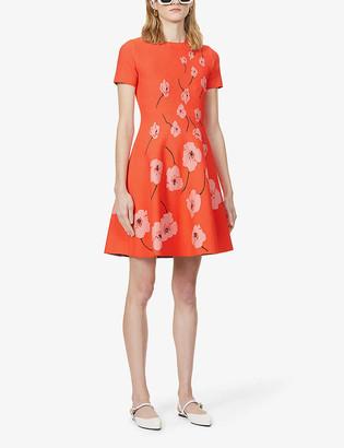 Carolina Herrera Floral-print stretch-knit mini dress