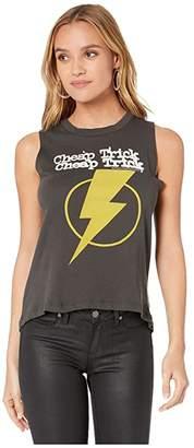 Chaser Cheap Trick Lightning Bolt Gauzy Cotton Tank (Vintage Black) Women's Clothing