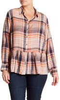 Susina Plaid Button Down Peplum Top (Plus Size)