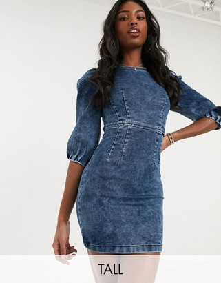Parisian Tall denim puff sleeve bodycon dress in acid wash
