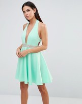Club L Scuba Diamante Trim Halter Prom Dress