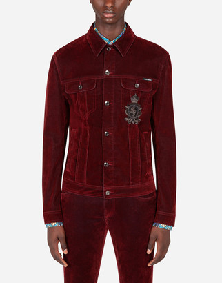 Dolce & Gabbana Flocked Stretch Denim Jacket With Patch Embellishment