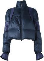 Sacai leather trimmed puffa jacket