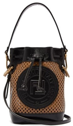 Fendi Mon Tresor Mini Ff Perforated-leather Bucket Bag - Womens - Tan Multi