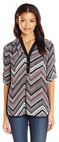 My Michelle Junior's Printed Rolled Sleeve Tunic Top Placket Contrast Framing