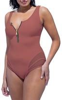 Plus Size Women's Gabifresh Front Zip Swimsuit