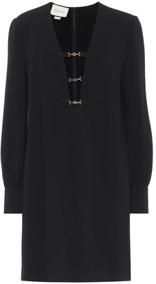 Gucci Embellished stretch-crepe minidress