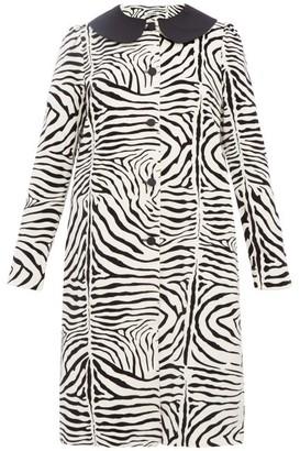 Batsheva Zebra Print Cotton Velvet Swing Coat - Womens - Cream Multi