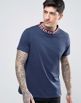 Pretty Green Plecteom T-Shirt Jacquard Knit Neck in Navy