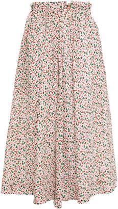 Marni Pleated Floral-print Cloque Midi Skirt