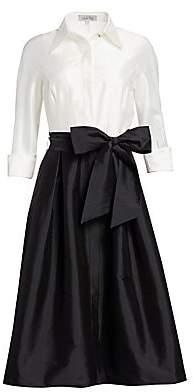 Teri Jon by Rickie Freeman Women's Two-Tone Collared Taffeta Gown