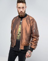 Asos Two Tone Bomber Jacket In Rust