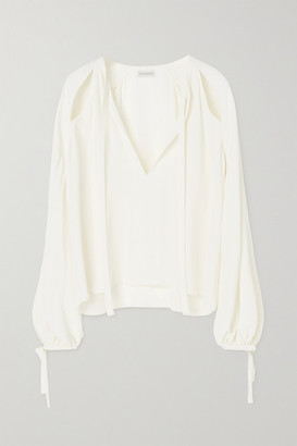 By Malene Birger Henrya Cutout Crepe De Chine Blouse - Cream