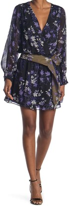 Ramy Brook Floral Long Sleeve Belted Silk Dress