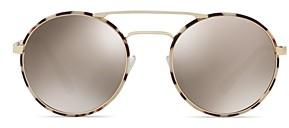Prada Women's Catwalk Mirrored Brow Bar Round Sunglasses, 54mm