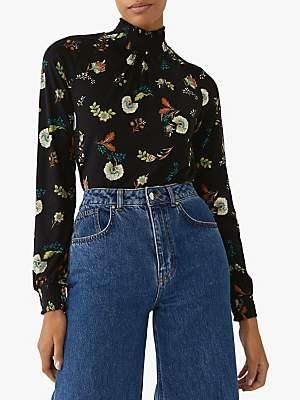 Warehouse Floral Shirred High Neck Top, Black