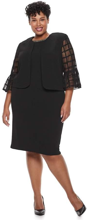 Plus Size Maya Brooke Embellished Sheath Dress & Lace Jacket Set