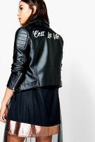 Boohoo Petite Maddi Slogan Biker Jacket black