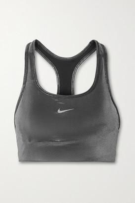 Nike Icon Clash Cutout Metallic Stretch Sports Bra - Gunmetal