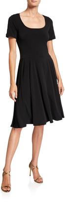 Melissa Masse Geo Printed Scoop-Neck Short-Sleeve Luxe Jersey Dress