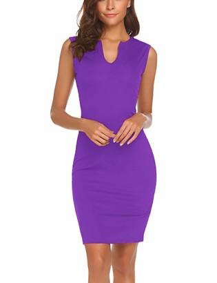 Naggoo Women's Business Wear to Work Sleeveless V Neck Bodycon Pencil Dress - - XX-Large