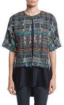 St. John Dara Fringe Knit Kimono Jacket, Multi