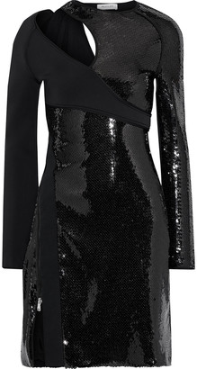 Thierry Mugler Cutout Sequin-embellished Satin-crepe Mini Dress
