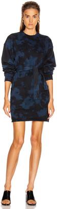 Proenza Schouler White Label Tie Dye Sweatshirt Dress in Indigo & Black   FWRD