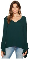 1 STATE 1.STATE - Long Sleeve V-Neck Cascade Sleeve Blouse Women's Long Sleeve Pullover