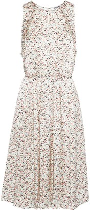 Jason Wu Tie-back Pleated Floral-print Silk-charmeuse Dress