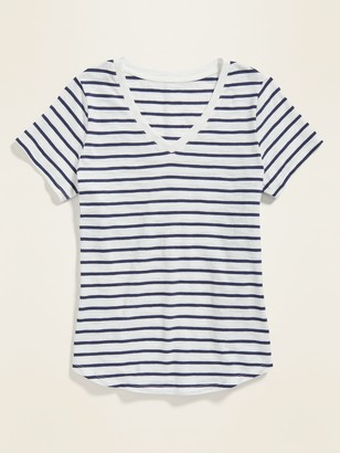Old Navy EveryWear Striped Slub-Knit V-Neck Tee