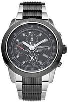 Seiko Men's Chronograph Alarm SNAB19 Stainless-Steel Chronograph Watch with Dial