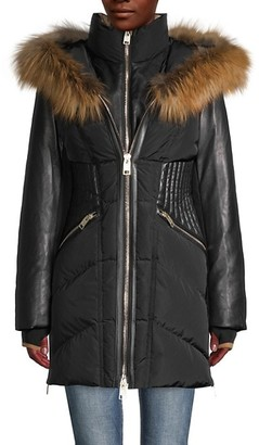 Nicole Benisti Courvechal Fox Fur-Trim Down Puffer Coat