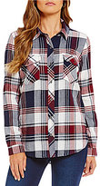 Westbound 2 Pocket Button Front Plaid Top