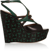Alaia Two-tone leather wedge sandals