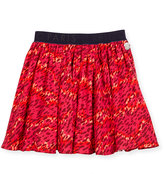 Kenzo Smocked Leopard-Print Circle Skirt, Fire, Size 4-6