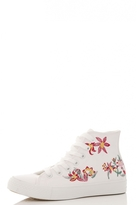 Quiz White Embroidered High Top Trainers
