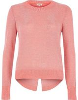 River Island Womens Coral pink metallic knit split back sweater