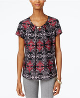 NY Collection Printed Pleated Hardware-Trim Top