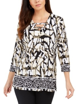 JM Collection Laced Grommet-Neck Tunic Top, Created For Macy's
